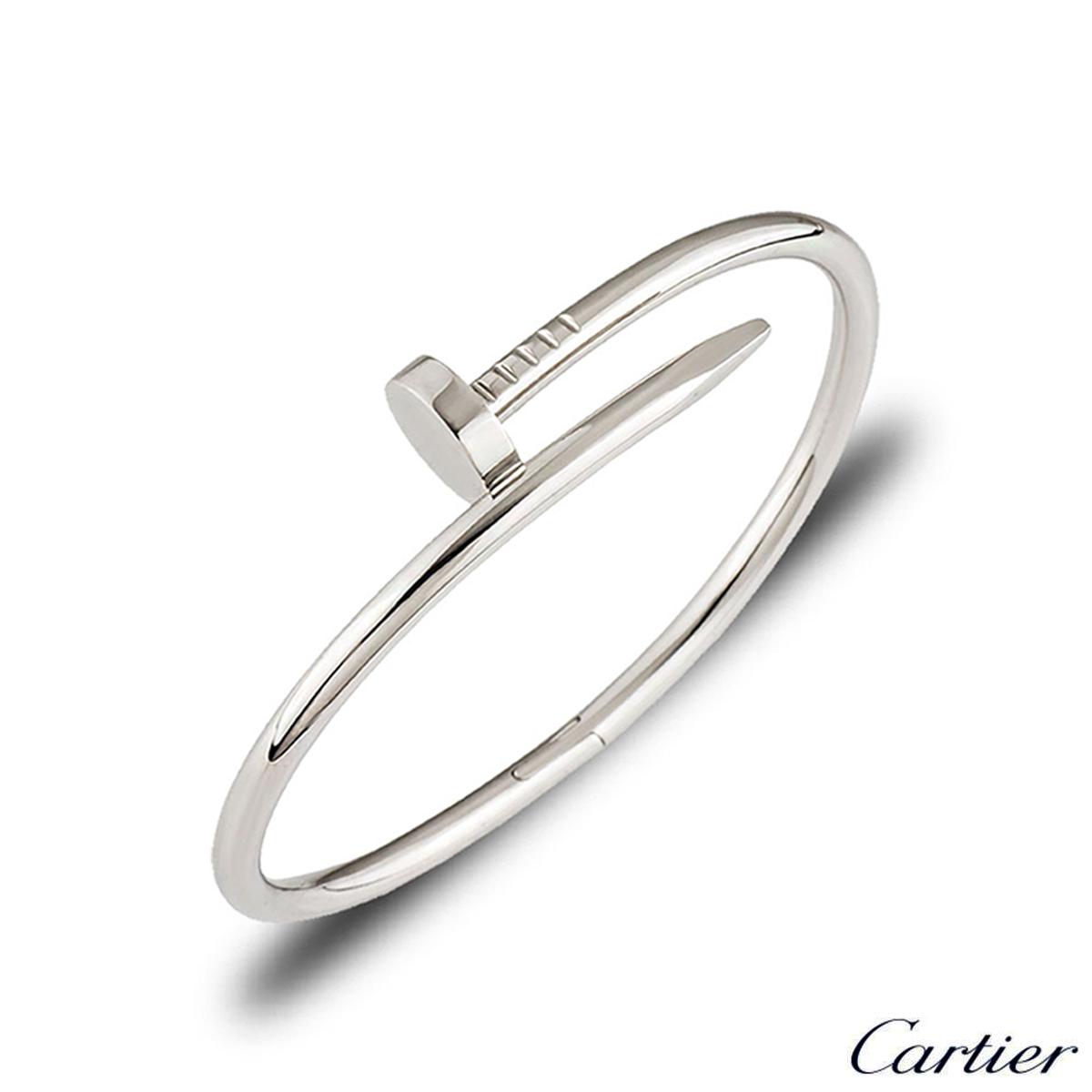 Cartier White Gold Plain Juste Un Clou Bracelet Size 19 B6048319